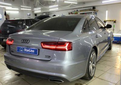 Audi A6 — установка охранного комплекса StarLine S96, бронирование кузова, полировка и бронирование фар, тонировка