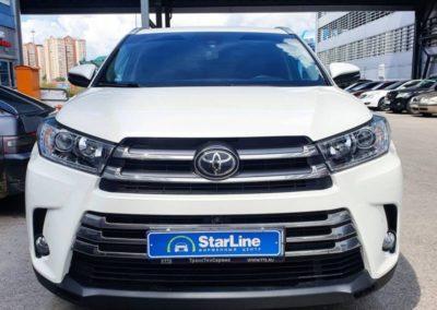 На Toyota Highlander установили охранный комплекс 6го поколения StarLine S96 с функцией управления через телефон